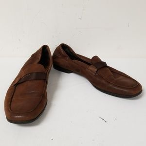 Prada Brown Leather Slip On Loafers Shoes Size 9